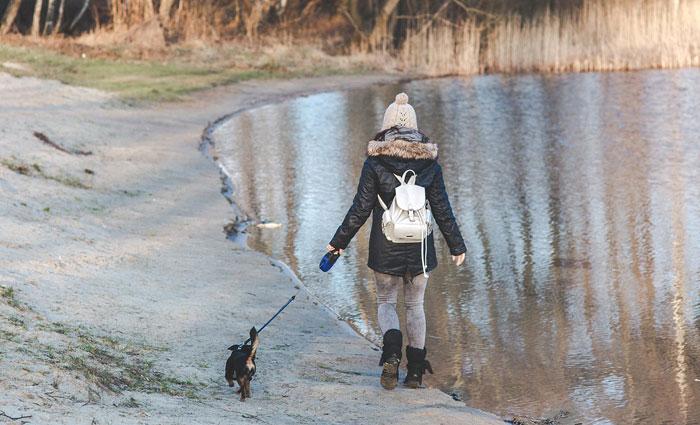 woman-walkin-dog